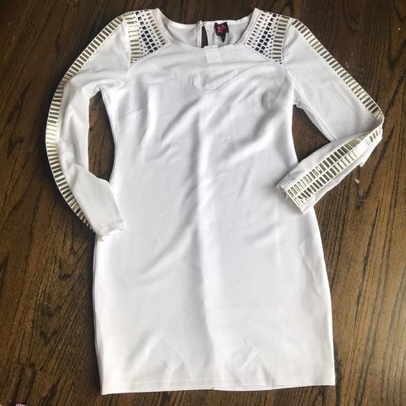 bebe Dresses & Skirts - Bebe white bodycon long sleeve dress with studs